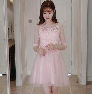 8100レディース ドレス 結婚式 お呼ばれ ワンピース パーティードレス 二次会 編み上げ ドレス アウトレット 膝丈 ミディアム ミモレ丈 ポッチャリ 大きいサイズ ピンク