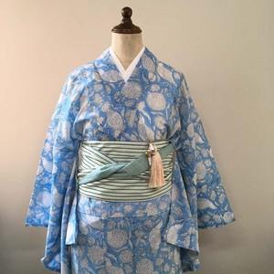 インド綿の二部式浴衣 おはしょり付き 空と鳥と花