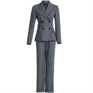 セットアップスーツジャケット+パンツウール混グレー