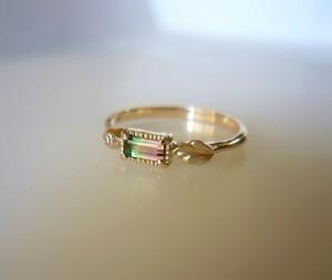 バイカラートルマリンとダイヤのK10の指輪