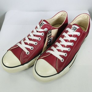 90's CONVERSE コンバース ALL STAR LOW オールスターロー レザースニーカー RED LEATHER レッド  赤 デッドストック NOS US8  USA製 希少 ヴィンテージ