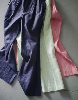 pelleq / C finished linen W tuck chaper trousers /  limegreen (ライムグリーン)/ beet (ピンク)aubergine (ネイビー)