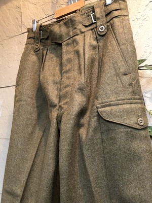 Deadstock 1950s-60s British military wool OD trousers