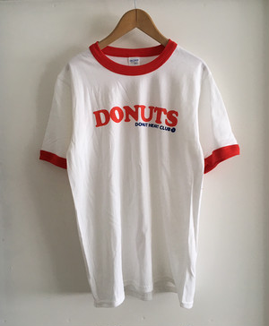 DONUTS Ringer T-shirt (WHITE & RED) <L size>
