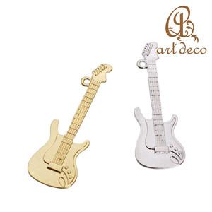 チャーム 楽器 ギター 2個 45mm×15mm [cha-10003] パーツ アクセサリー オリジナル ハンドメイド 材料 卸 装飾 加工 創作 ペンダント キーホルダー 問屋 卸売り