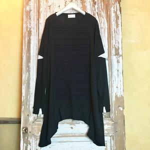 guri / Tuck Knit Tunic /BLACK