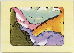 木製ハンドメイドパズル「9匹の恐竜」