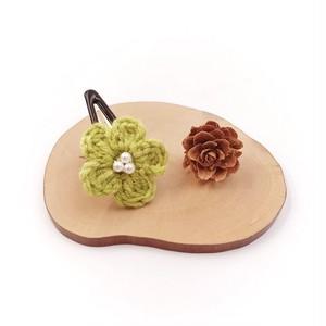段染め小花のパッチンピン*リーフグリーン