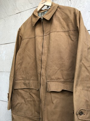 OLD French zip up brown cotton hunting jacket