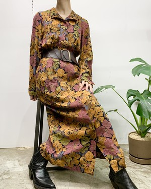 1980s JOAN LESLIE flower print stand collar rayon maxi one-piece 【8】