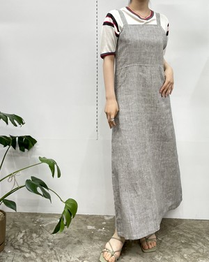 MADE IN INDIA REAL comfort linen sleeveless one-piece 【S】