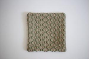 新美典子(perico畑)|手織りのポットマット 草色