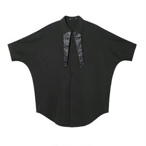 送料無料メンズ/オーバーサイズ/黒/襟ロング/ドルマン/半袖シャツ