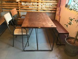 ウォールナット ダイニングテーブル アイアン脚 [Wulnut Dining Table]