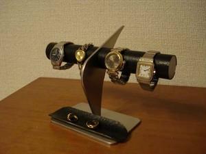 時計スタンド ブラックコルク4本掛けデザイン腕時計スタンド ロングトレイ 120121