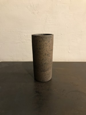 関口憲孝 花器 円筒 黒茶