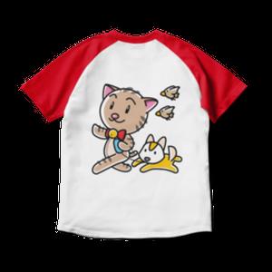 <ラグランTシャツ ホワイト×レッド>両面印刷 おさんぽみーちゃん