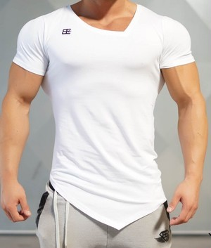 BODY ENGINEERS ボディエンジニア Tシャツ YUREI X Prometheus 2.0 アシンメトリー Vネック 白【WHITE OUT】 メーカー直輸入品!