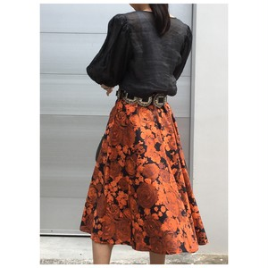 50's dead stock flower print flare skirt