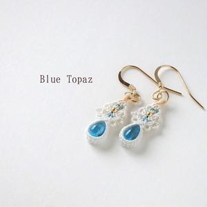 【ブルートパーズ】絹糸のマクラメミニピアス
