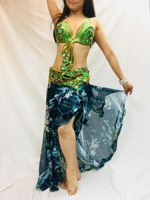 エジプト製ベリーダンス衣装 ターキッシュスタイル ターキッシュ緑花柄