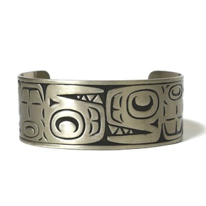 Vintage Northwest Coast Haida Nickel Silver Traditional Art Bangle