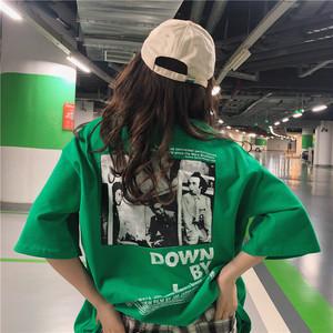 【トップス】韓国系半袖ラウンドネックアルファベットTシャツ21350395