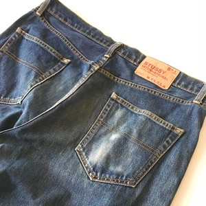 STUSSY : 5 pocket  jeans / paper patch  (used)