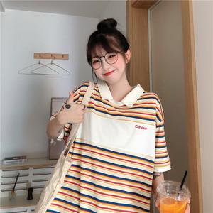 カラフルボーダー柄ポロシャツ