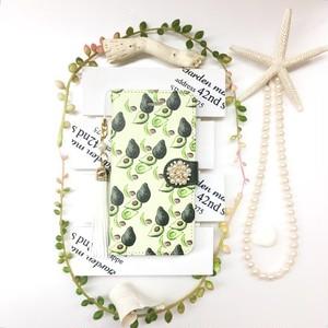 pajour(パジュール) モスグリーン アボカド柄 手帳型 スマホケース(野菜)(秋冬)(iPhone8対応)