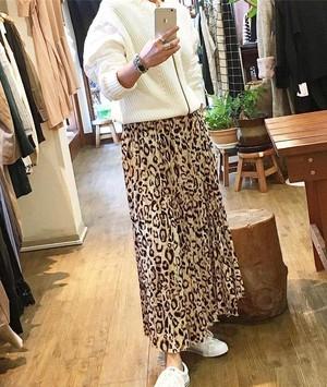 A/W Collection レオパード ヒョウ柄 プリーツスカート ウエストゴム ベージュ