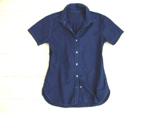 ◆100%自然素材 天然灰汁発酵建て 本藍染◆ オーガニックコットン ブロード半袖シャツ(レディース)