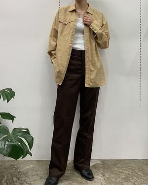 ~70s check pattern long sleeve western shirt【M】