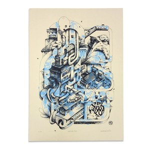 "NEARSKI screen print ""naniwa-ku"" (blue)"