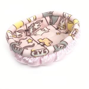 ふーじこちゃんママ手作り ぽんぽんベッド (サテンライトピンク・フリース・ねこお洗濯柄)Mサイズ