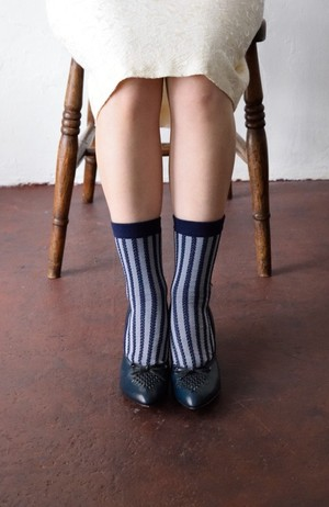 【CORDE STRIPE SOCKS SERIES 】 COLOR <NAVY×GRAY>