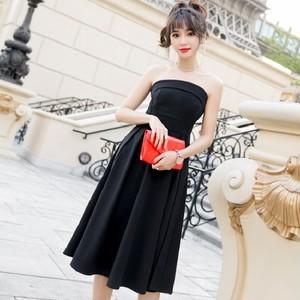 32b815c55f0d4 ワンピース ドレス ベアトップ ハイウエスト フレア Aライン ミモレ丈 バックシャン パーティ リゾート 大きい