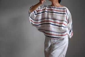 ポンチョ 風 プルオーバーシャツ / 麻 ボーダー 【 トリコロール 】・バスク ボートネック 冷房対策 日除け/ poncho pullover shirt ramie stripe【tricolor color】 boat neck