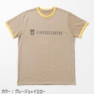 VINTAGELOVERS Logo T-shirt Grege×Yellow