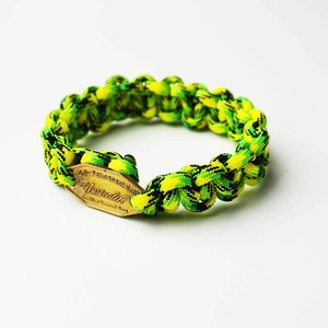UNRIVALED/Grok.Leather Paracord Bracelet NEON YELLOW