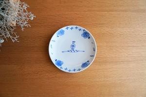 砥部焼/5寸皿/バレリーナ水玉/森陶房kaori
