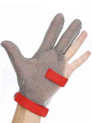 予約販売 プロ用 防刃ステンレスグローブ 3本指 布(ナイロン素材)ストラップ 煮沸消毒可能 HACCP対策 手術時保護グローブ 輸入品