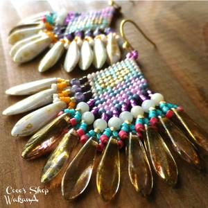 Czech Dagger Beads Pierce ~opaque luster green&brown~