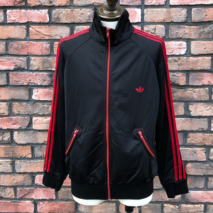 1970s Adidas Round Pockets Track Top Black×Red EU50
