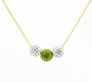 ラインストーンパヴェボールネックレス pve-neckolive3 クリスタル&オリーブ(黄緑) パヴェ キラキラ