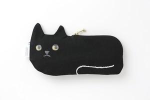 ネコ横長ポーチ ブラック