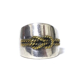 Vintage Sterling Silver Mexican Brass Rope Knot Ring