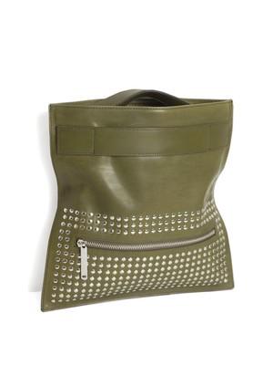 Leather poche 'tape' half-studs クラッチバッグ 172ABG07