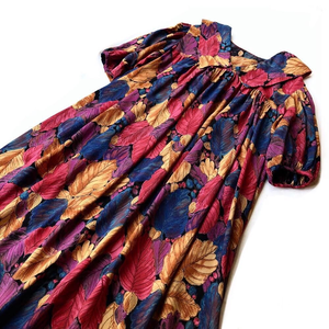 Vintage Leaf Print Rayon Tent Dress / リーフプリントギャザーワンピース