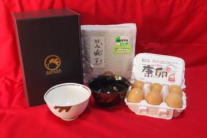 Aセット(康卵12個、茶碗2個、白米or玄米2kg)